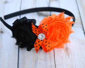 Orange and Black Headband, Halloween headband, Newborn Headband, Baby Headbands, hair bow, Adult Headband