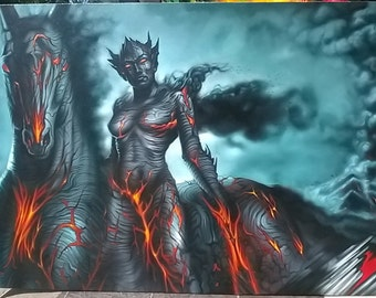 """Dark devil painting oil painting on canvas 36""""X48"""""""