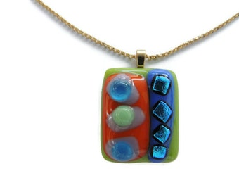 glass bubbles,fused glass necklace,glass pendant necklace,green blue orange dichroic glass pendant necklace,green blue orange fused necklace