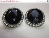 SALE Vintage 1950s Black Faceted Lucite Cabachon Rhinestone Silver Tone Clip Earrings Jewelry Gift