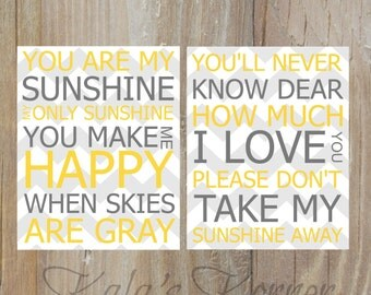 YELLOW And GREY DECOR  - Yellow and Grey Wall Art - You Are My Sunshine - 8x10 Unframed Print Set