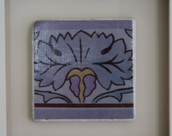 Art Nouveau Purple Flower Antique Tile Art 4x4