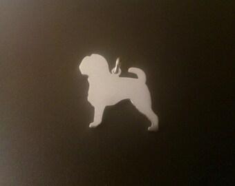 Griffon Bruxellois dog silhouette Sterling Silver pendant
