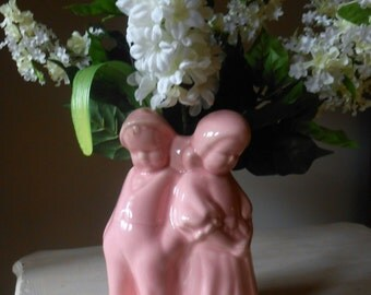 Vintage Pink Figurine Vase of a Boy and Girl