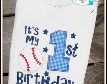 It's My 1st Birthday Baseball Themed Shirt/Bodysuit