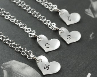 Heart necklaces, SET of 7, Wedding necklace, personalized bridesmaids gifts, stamped initial, bridal party favors