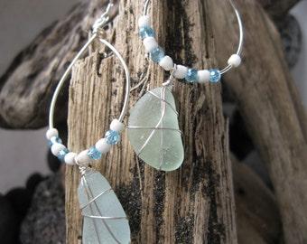 Hilo Beach Glass wire wrapped Hoop earrings