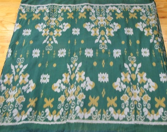 Hand woven cotton green, yellow and gray ikat fabric by the yard