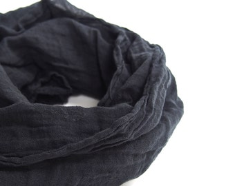 Minimalist Black Scarf, Black Cotton Gauze Scarf, Mens Scarf, Lightweight Cotton Scarf, Large Black Scarf, Mens Black Scarf, Black Gauze