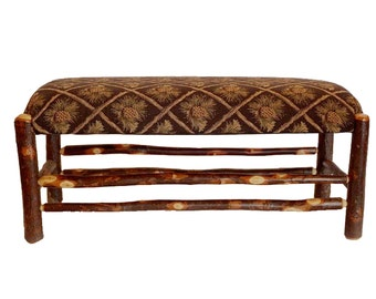 "40"" Rustic Hickory Upholstered Bench with Pine Cone Fabric"