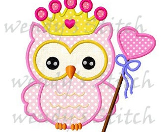 Princess owl applique machine embroidery design digital