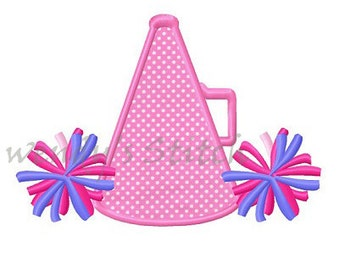 Cheerleader megaphone pom pom applique machine embroidery design