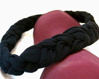 Black Braided Headband Fitness Headband T-shirt headband Boho Hairband, comfortable Sports Headband Fitness Gift- women, girls, men, babies