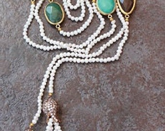 """PEARLS,SEMI PRECIOUS Charms and Bronze Lariat /Necklace/77"""" ! Gorgeous!"""