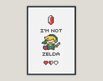 Link 'I'm not Zelda' Cross Stitch - PATTERN