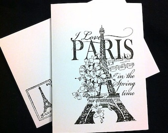 7 Eiffel Tower blank note cards and envelopes. All occasion cards. White cards.