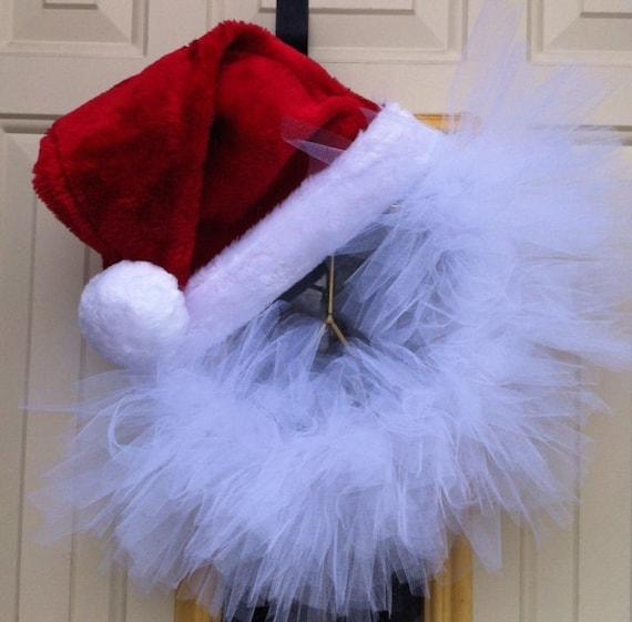 Santa Hat Tulle Wreath Christmas Decoration