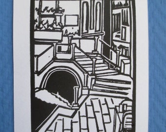 Venice Italy Small Linocut Print 4x6 inches