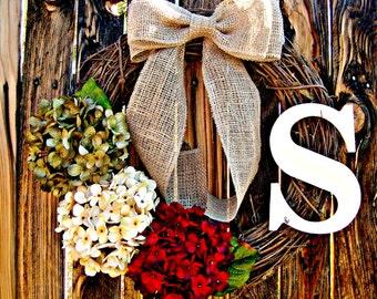 Hydrangea Wreath - Monogrammed  Wreath - Personalized Wreath - Personalized  Gift - Rustic Decor - Wreath with Monogram - Initial Wreath