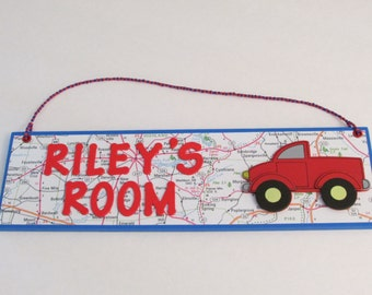 Red Pick-up Truck Personalized Room Decor Sign - Red Pickup Truck Room Decor