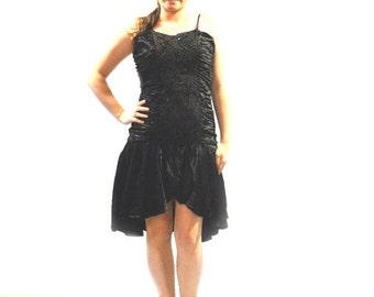80s Black Sparkle Hi Lo Dress // Black Sequence Dress // Fishtail Dress // Black Homecoming Prom Dress