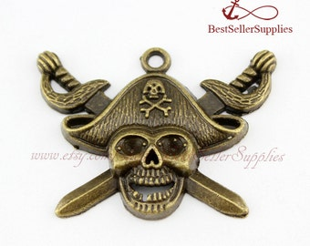 10 PCS, Pirate Charm, Pirate Pendant, Halloween Creations, Skull, Antique Silver, Bronze, Accessories, Supplies, Jewelry Making, 45*34MM