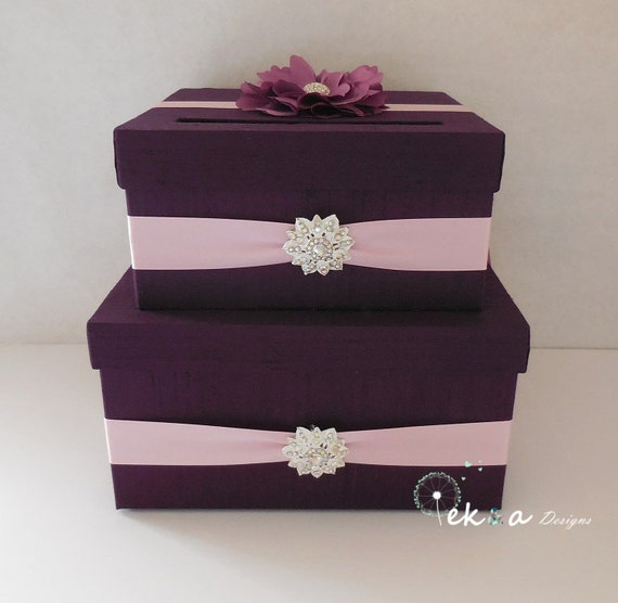 Wedding card box / money box / card holder / gift card box / 2 Tier (Purple/ Egg plant & Pink)