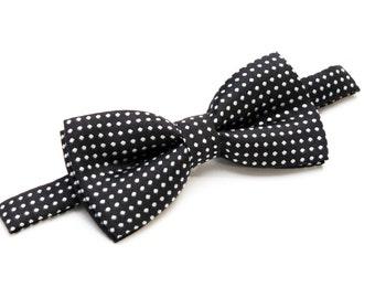 Boys polka dot bow tie - Black