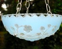 Glass bird feeder - glass garden art - garden bird feeder