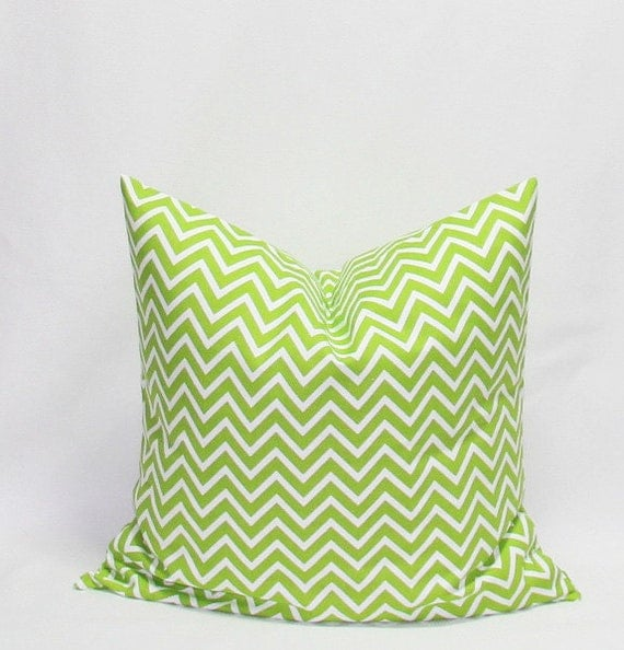 Throw Pillow Case 20 X 20 : Green Chevron Throw Pillow Cover 20 x 20 by HomeDecorPillows