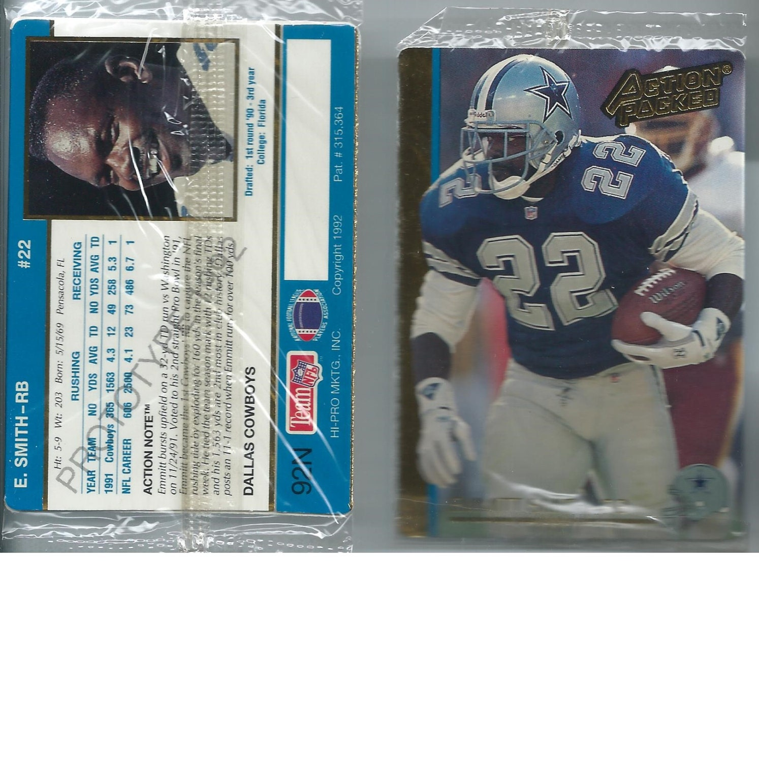 Rookies Coupons: 1991 Emmitt Smith Action Packed Rookie Prototype Card SEALED