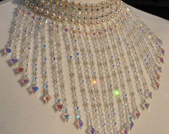 Wedding Choker Swarovski Crystal Pearl Necklace, Bridal choker, Wedding Necklace, Hollywood jewelry, Back drop necklace, Crystal back drop.