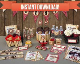 Cowboy Birthday Party Printable Collection & Invitation - Editable PDF file - Print at home