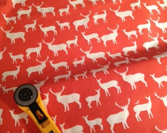 Deer fabric by the yard - Birch Fabrics Elk Fam Coral - Organic cotton