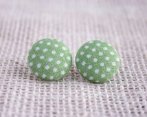Fabric Button Earrings - Light Green with White Polka Dots