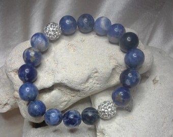 Natural Sodalite Blue Beads w/Rhinestone Accent Beads Positive Energy Stretch Bracelet