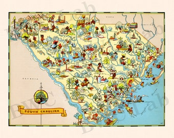 Pictorial Map of South Carolina - colorful fun illustration of vintage state map