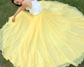 Bright Yellow  Wedding Long Chiffon skirt Maxi Skirt Ladies Silk Chiffon Dress Plus Sizes Sundress Nice Homecoming dress Holiday Beach Skirt