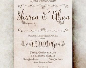 Wedding Invitation Shabby Chic Rustic Brown beige - Printable Digital Invitation DIY