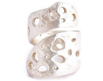 BACK by DEMAND - Organic Sculptural Sterling Crater Wrap Ring