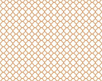 Orange quarterfoil craft  vinyl sheet - HTV or Adhesive Vinyl -  white with orange clover quatrefoil pattern vinyl HTV537