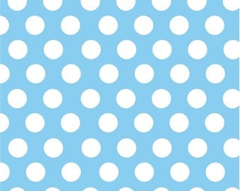 Blue with white dots craft  vinyl sheet - HTV or Adhesive Vinyl -  large light blue with white polka dot pattern