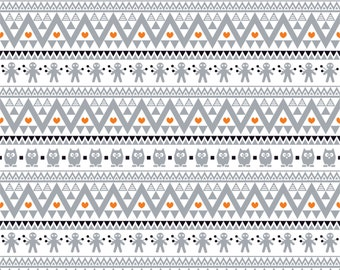 Gray black and orange owl tribal pattern craft  vinyl sheet - HTV or Adhesive Vinyl -  Aztec Peruvian pattern Halloween  HTV311