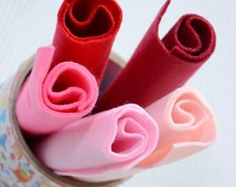5pc set polyester felt for craft Pink Pick  18x18cm