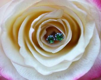 Tsavorite Garnet Stud Earrings, Garnet Earrings, Oxidized Silver Stud Earrings, 2mm Studs, Green Garnet Studs, January Birthstone