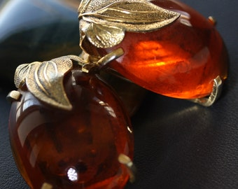 Vintage Whiting and Davis Amber Clip On Earrings