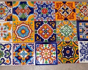 18 azulejos talavera pintadas a mano 4 x 4 for Azulejo de talavera mexico