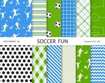 Soccer Paper pack in navy green and blue, football futbol soccer scrapbook paper, soccer digital paper - BR 246