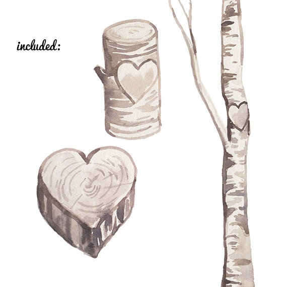 Wedding Tree Watercolor Clipart: Custom Watercolor Birch Heart Trees Carving Clipart