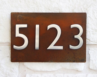 First Impression Address Plaque w/ Silver Numbers, Address Sign, House Numbers (Free Shipping)